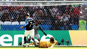 Joshua Risdon was adjudged to have fouled Antoine Griezmann in the box