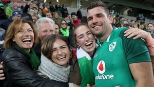 Tadhg Beirne celebrates with his family
