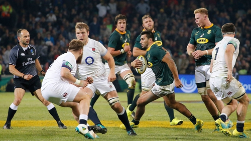 Damian de Allende runs at the England defence as South Africa seal series victory