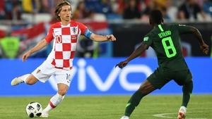 Luka Modric looking to get past Nigeria's Oghenekaro Etebo