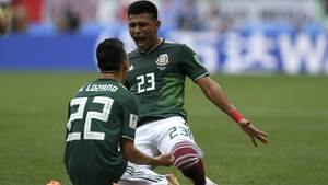 Hirving Lozano celebrates after scoring the games' only goal