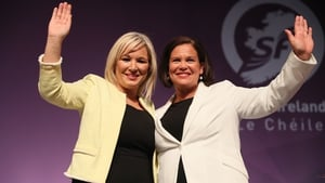 Michelle O'Neill and Mary Lou McDonald at the Sinn Féin Ard Fheis in Belfast at the weekend