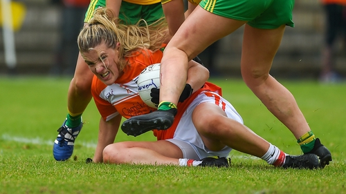 Kelly Mallon of Armagh under pressure to retain possession
