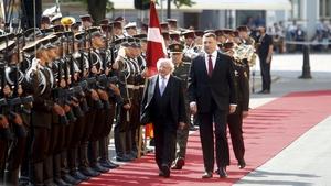 President Higgins spent yesterday in Latvia where he met President Raimonds Vejonisin Riga