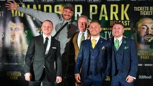 Luke Jackson, Tyson Fury, promoter Frank Warren, Carl Frampton and Paddy Barnes promoting the fight
