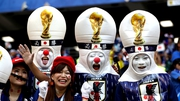 Japan fans celebrate their won over Colombia