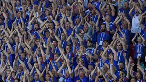 Iceland fans perform the 'thunder clap'
