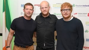 Ed Sheeran with Dermot O'Leary and the London Irish Centre's Director of Culture, Gary Dunne