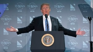 Donald Trump addresses the National Federation of Independent Businesses 75th anniversary celebration in Washington