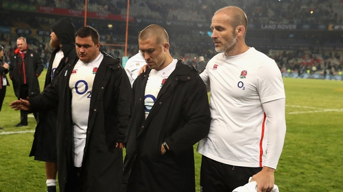 Mike Brown has a confrontation after England's 2nd Test loss to South Africa in Bloemfontein