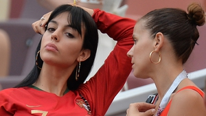 See that sparkler? Georgina Rodríguez (left) during Portugal's World Cup victory over Morocco in Moscow on Wednesday