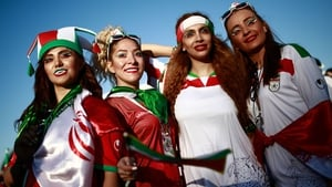 They may not be allowed to go to games back home but there was a strong female pressence supporting Iran in the final game of the day, against Spain