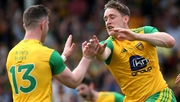 McFadden (R) celebrates his goal against Derry