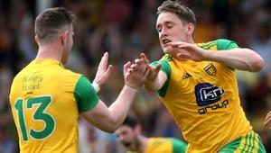 McFadden (R) celebrates his goal against Derry