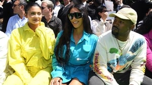 Kim Kardashian West at the Louis Vuitton show with husband Kanye West and half-sister Kylie Jenner