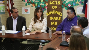 US first lady Melania Trump participates in a discussion with doctors and social workers at a centre for migrant children on the US border