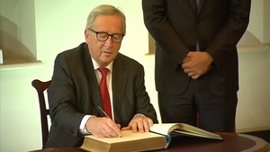 Jean-Claude Juncker signs the guest book at Dublin Castle