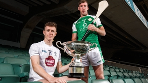 Kildare's Brian Byrne and Brian Regan of London with the Christy Ring Cup