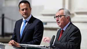 Jean-Claude Juncker and Taoiseach Leo Varadkar at a press conference at Government Buildings