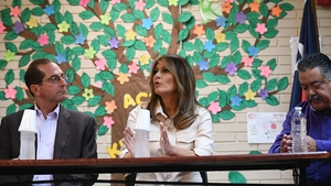 Melania Trump participates in a discussion with doctors and social workers