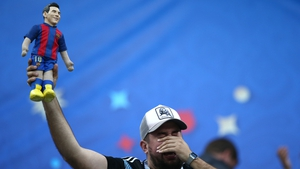 An Argentina fan reacts during World Cup match between Argentina and Croatia