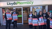 A Mandate picket outside Lloyds Pharmacy in Bray, but all stores are open despite pickets at 34 locations