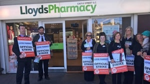 A Mandate picket outside Lloyds Pharmacy in Bray, but all stores were open despite pickets at 34 locations