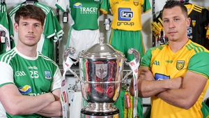 Fermanagh's Tomas Corrigan and Donegal's Paul Brennan