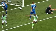 Ahmed Musa of Nigeria (r) has put his side in front