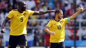 Lukaku (L) and Hazard both scored twice for Belgium