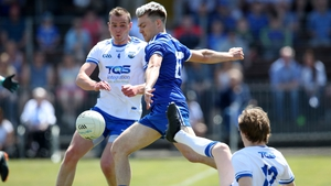 Waterford's James McGrath and Conor McCarthy of Monaghan