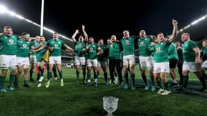 Ireland players celebrate with the Lansdowne Cup