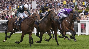 Ryan Moore riding Merchant Navy (far right, purple) wins The Diamond Jubilee Stakes