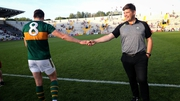Kerry Manager Eamonn Fitzmaurice congratulates David Moran after the game