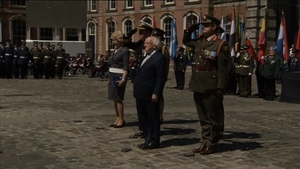Michael D Higgins and his wife Sabina attended the ceremony in Dublin Castle