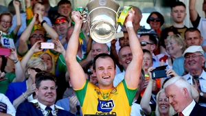 Michael Murphy lifts the Anglo Celt Cup for Donegal in 2018