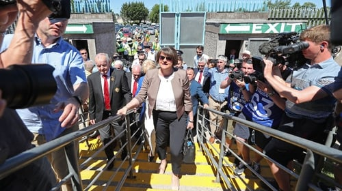Arlene Foster at the Ulster final between Fermanagh and Donegal in Clones, Co Monaghan