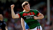 Mayo's Eoin O'Donoghue celebrates scoring a point against Tipperary
