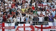 England fans celebrate their emphatic win against Panama