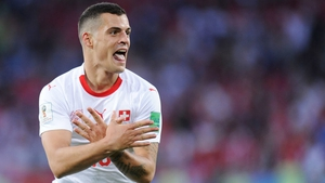 Granit Xhaka celebrating after scoring against Serbia