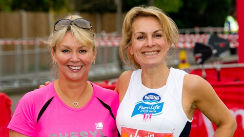 """Cheryl Baker (left) and Jay Aston at the London Marathon in 2011 - """"We are as one. We are rooting for her"""""""