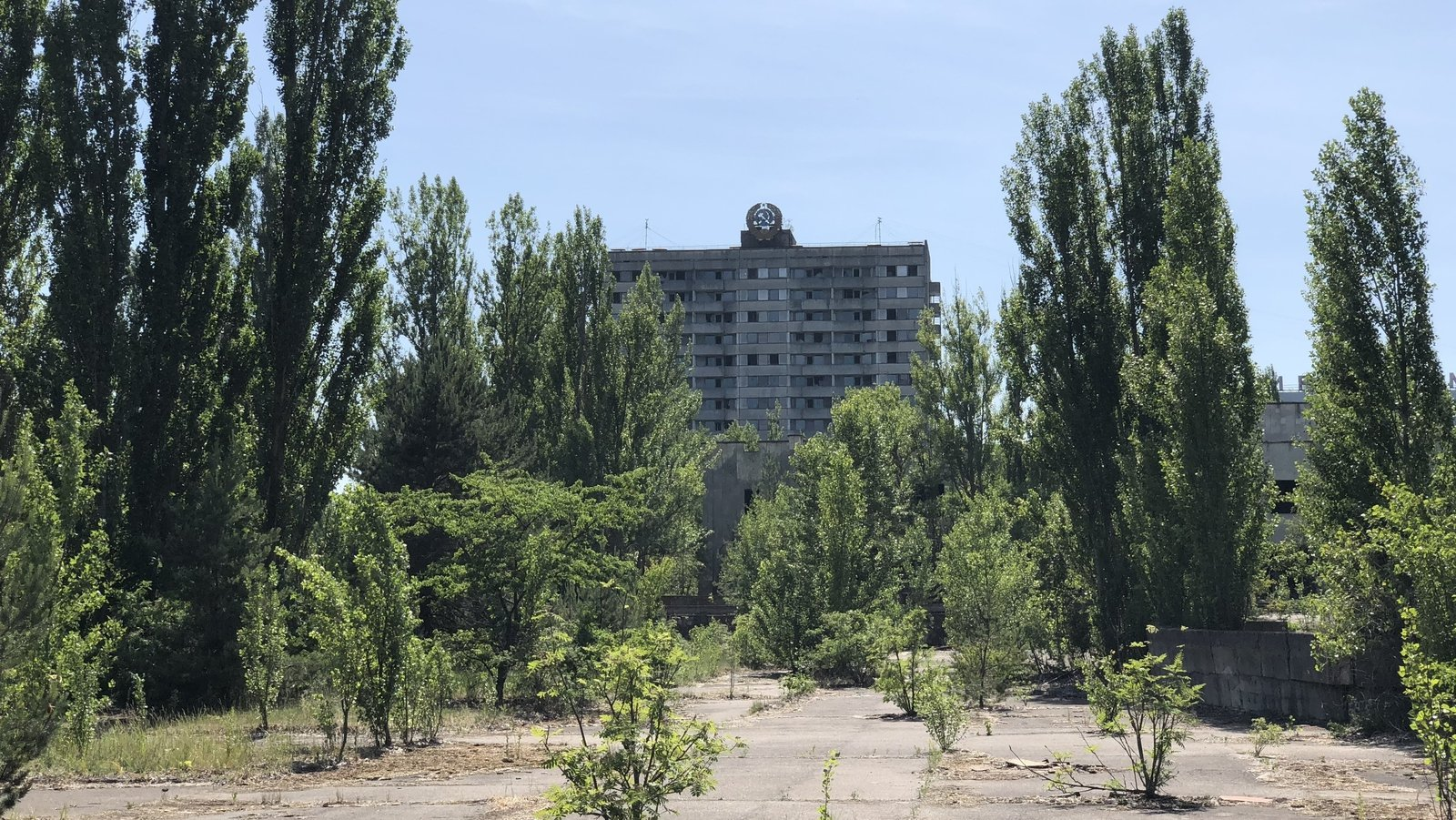 Image - The now overgrown central square of the abandoned town of Pripyat