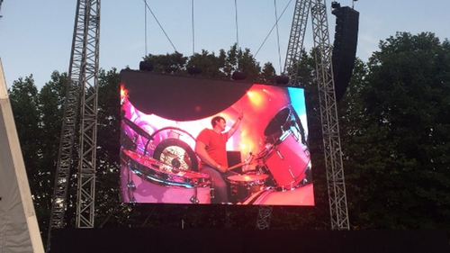 Danny Ross on stage with The Killers. Pic: Twitter.com/OFlynnMark