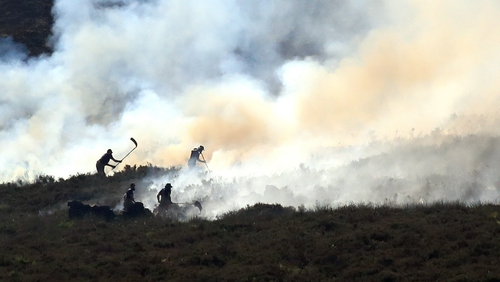 The army is helping fire crews on the moor