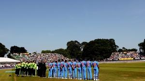 The teams line up in Malahide