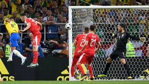 Thiago Silva heads the ball to score Brazil's second goal