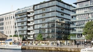 The planned exterior of the Six Hanover Quay site