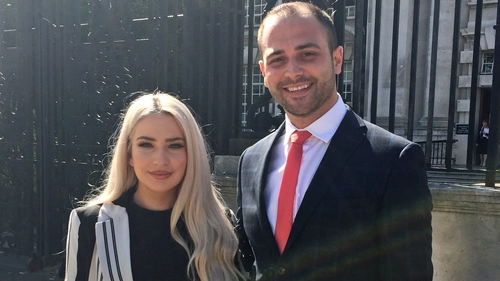 Laura Lacole and her lawyer Ciaran Moynagh outside Belfast High Court