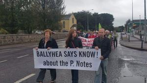 Politicians join Ballyhea Says No group on their weekly protests against the bailout bank debt which began in the north Cork village in 2011