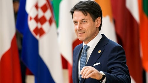 Giuseppe Conte pictured as he arrived for the summit in Brussels